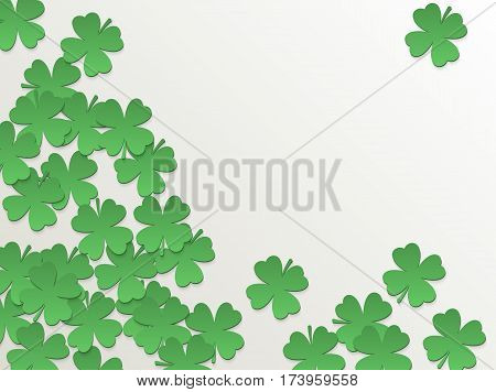 White St. Patrick day background with clover four-leaf flat green paper cut leaves. Vector simple design.