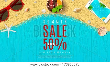 Web banner for summer sale. Top view on seashells, fresh cocktail, sun glasses, smartphone and sea sand on wooden texture. Vector illustration with special discount offer.