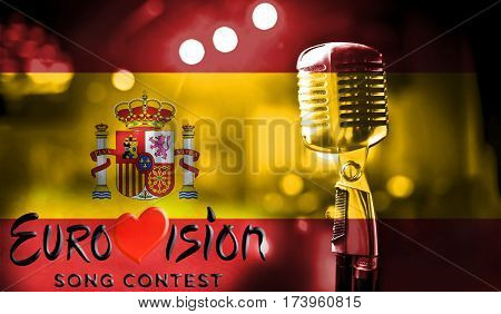 Photos Banner With The Official Logo Of The Eurovision Song Contest In The Spain Flag.