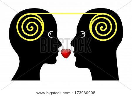 Marital Harmony. Man and woman perfectly matching together