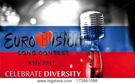 Photos Banner With The Official Logo Of Eurovision In The Russian Flag, Eurovision Song Contest 2017