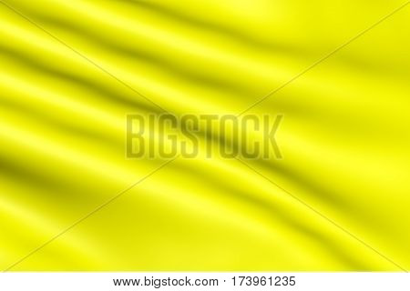 Satin fabric in yellow glossy color is waves for the background. Silk material whimsical bent. Cloth folded bright - texture for the backdrop.