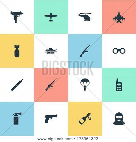 Set Of 16 Simple Military Icons. Can Be Found Such Elements As Cold Weapon, Kalashnikov, Extinguisher And Other.
