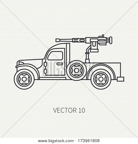 Line flat plain vector icon armed open body army pickup. Military vehicle. Cartoon vintage style. Machine gun. Mobile weapon emplacement. Tractor unit. Tow auto. Illustration and element for design.