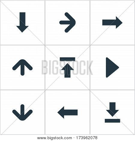 Set Of 9 Simple Arrows Icons. Can Be Found Such Elements As Downwards Pointing, Left Direction, Downwards Pointing And Other.