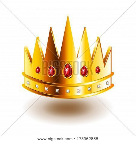 Crown with sharp teeth isolated on white photo-realistic vector illustration