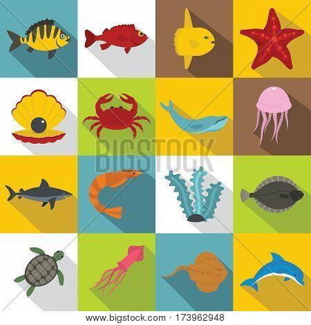 Sea animals icons set. Flat illustration of 16 sea animals vector icons for web