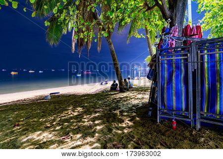PATTAYA THAILAND - JANUARY 17: This is Pattaya beach at night which is the main beach in Pattaya city where people often go to at night to relax and talk with friends on January 17 2017 in Pattaya
