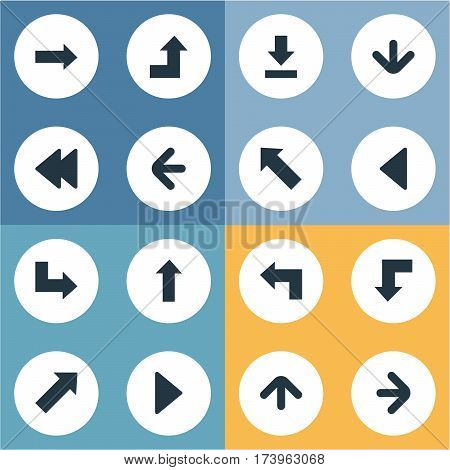 Set Of 16 Simple Indicator Icons. Can Be Found Such Elements As Right Direction, Downwards Pointing, Indicator And Other.