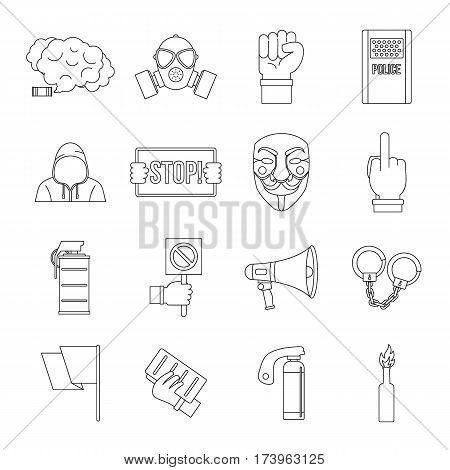 Protest icons set. Outline illustration of 16 protest vector icons for web