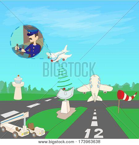 Airport concept runway. Cartoon illustration of airport runway vector concept for web