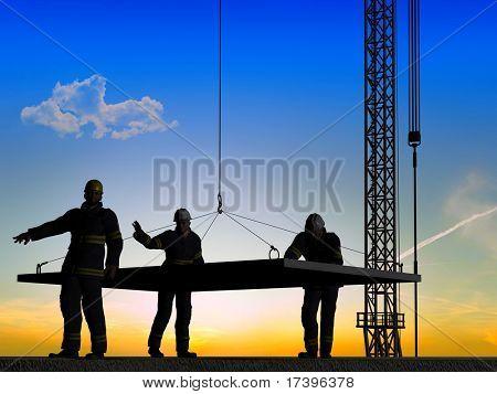 Trabajar en la construcción en la noche