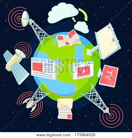 Advertising global concept. Cartoon illustration of advertising global vector concept for web