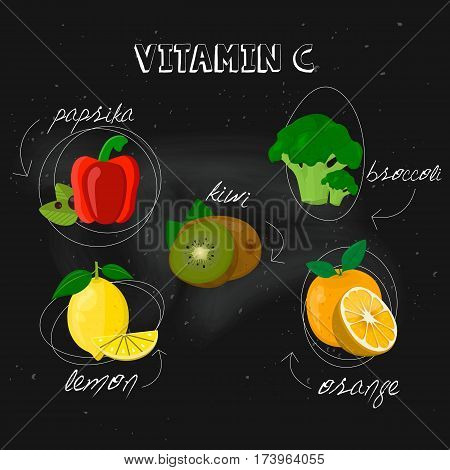 Vitamin C on black background. Vector illustration, eps 10. Fruit and vegetables with vitamin C info graphics set: lemon, orange, broccoli, paprika, kiwi.