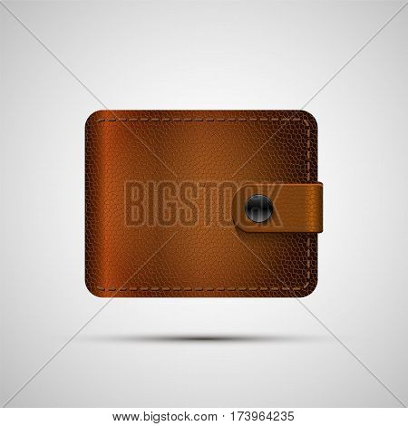 Leather wallet . Vector illustration, eps 10. Brown wallet isolated with shadow