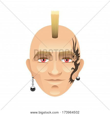 Man with mohawk and tattoos isolated on white vector illustration