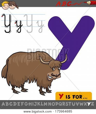 Letter Y With Cartoon Yak