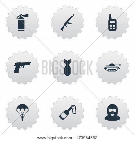Set Of 9 Simple Army Icons. Can Be Found Such Elements As Heavy Weapon, Nuke, Kalashnikov And Other.