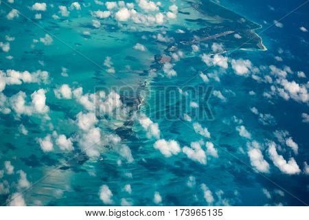 Aerial shot of the tropical islands in Carribean Sea