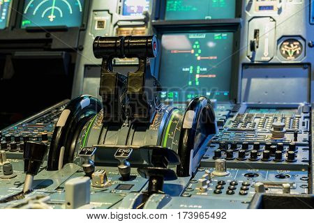 Engine lever in the cockpit of an airliner