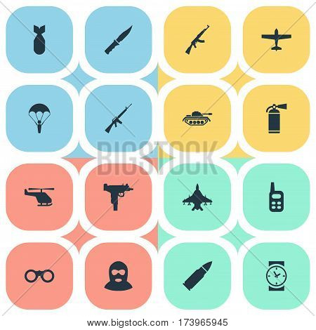 Set Of 16 Simple Terror Icons. Can Be Found Such Elements As Field Glasses, Helicopter, Kalashnikov And Other.