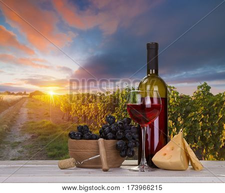 Red wine with barrel on vineyard in green Tuscany