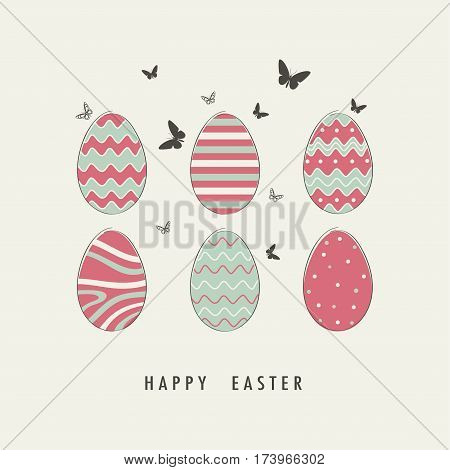 Cover design. Depicted six decorative eggs different design with two color green and pink. Phrase happy Easter on the beige background. Depicted butterfly grey color on the beige background.