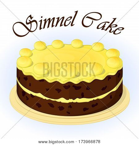 Traditional festive simnel cake to celebrate Mothering Sunday. Background for Easter in simple cartoon style. Vector illustration. Holiday Collection.