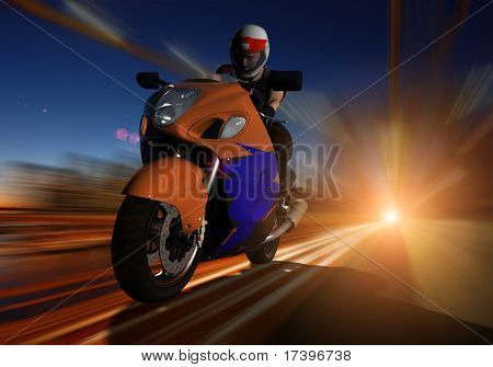 Biker to sped along the road
