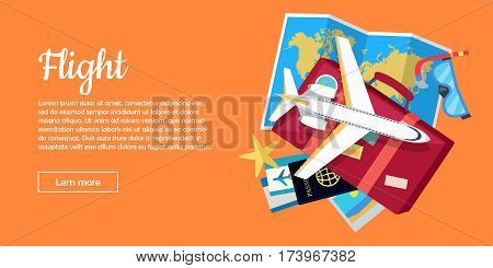 Flight travel web banner. Aircraft, suitcase with luggage, world map, air tickets, passport, diving mask, starfish flat vector illustrations. For travel agency, airline company landing page design