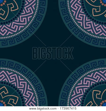 Traditional seamless vintage circle shaped ornate elements with Greek ornament Meander in dark colors. Can be used for wrapping paper, fabric, ceramic. Vector illustration