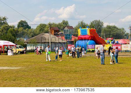 Velyki Sorochyntsi, Ukraine - August 20 2016: Unidentified people walking on the Sorochintsy Fair in Velyki Sorochyntsi Ukraine