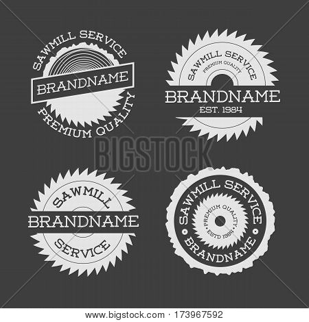 Set of sawmill logotype white isolated on black background. Stamps, banners and design elements. Wood work and manufacture label templates. Vector illustration