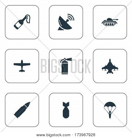 Set Of 9 Simple Terror Icons. Can Be Found Such Elements As Extinguisher, Molotov, Ammunition And Other.