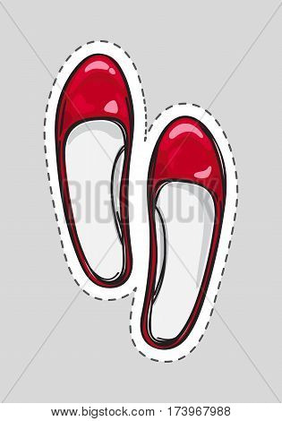 Women shoes patch with dashed line. Cut it out. Shoe for female without heel in flat style design. Pair of red leather pump shoes. New spring autumn collection. Shoe shop sale. Vector illustration