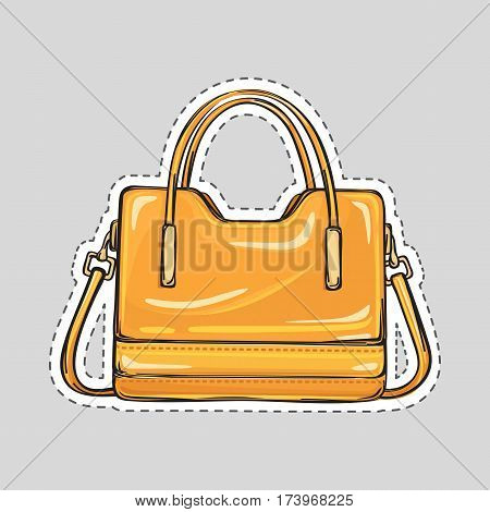 Ladies handbag with handle and clips isolated in flat style. Patch icon. Elegant orange yelow leather bag. Editable female accessory object. Modern trendy casual sack. Luxury case. Vector illustration