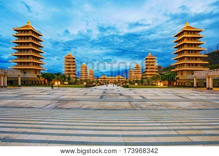 View of Fo Guang shan Buddhist architecture in the evening