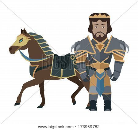 Fantasy knight character vector in flat design. King game personage in fairy bright armor near warhorse. Illustration for games industry concepts, icons and pictograms. Isolated on white background.