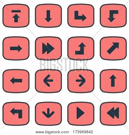 Set Of 16 Simple Indicator Icons. Can Be Found Such Elements As Left Direction, Upward Direction, Indicator And Other.