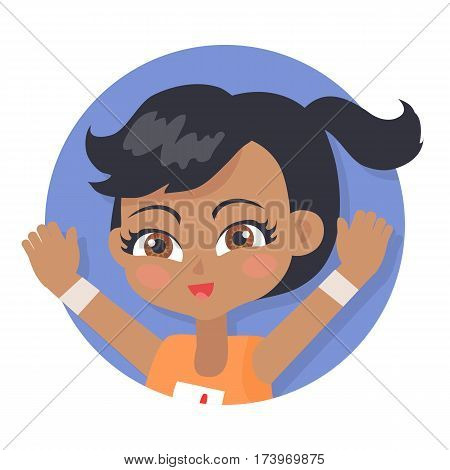 Isolated girl with pigtail avatar userpic. Black forelock. Hazel eyes. Portrait of nice female person in orange t-shirt. Pink flush on face. Simple cartoon style. Flat design. Vector illustration