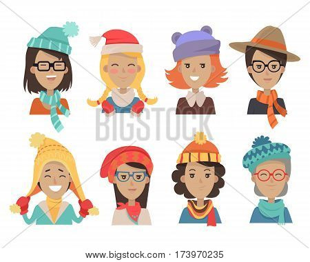 Woman face emotive icons. Smiling cute female characters of all ages in warm knitted hats and scarfs flat vectors. Girl, lady, granny in fashionable winter headdress. Positive emotions user avatars