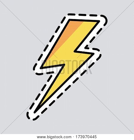 Yellow lightning icon. Cut it out. Illustration of isolated danger sign. Symbol of energy. Curved line. Patch. Amber colour. Cartoon style. Exscind. Flat design. Warning. Thunderbolt Vector