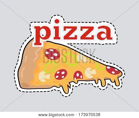 Pizza slice patch. Cut out Italian snack with cheese and tomatoes. Slice of pizza with dashed line. Mushrooms, salami, onion. Junk food. Consumption of high calories nourishment fast food. Vector
