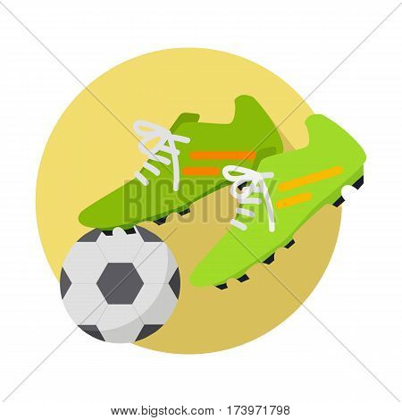 Football icon. Soccer ball with pare of green boots on yellow circle flat style concept illustration isolated on white background. Sports inventory. For sport store ad, app pictogram, infographics