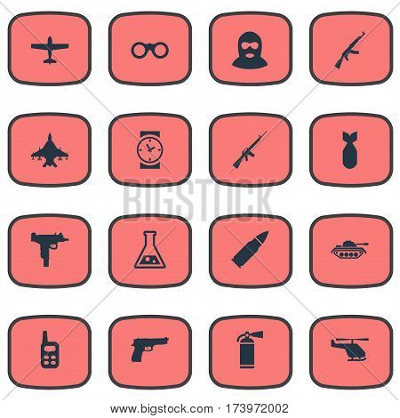 Set Of 16 Simple Military Icons. Can Be Found Such Elements As Watch, Walkies, Pistol And Other.