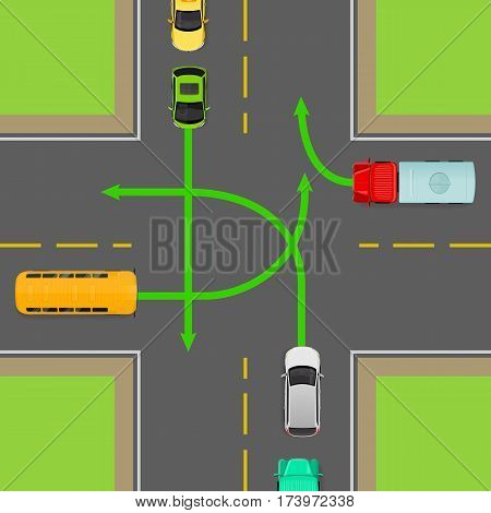 Turn rules on four-way intersection flat vector illustration. Road rule violation on top view diagram. Traffic offences concept. Danger of car accident. Driving theory lesson. For driving courses test