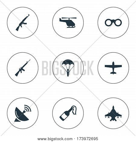Set Of 9 Simple Military Icons. Can Be Found Such Elements As Signal Receiver, Sky Force, Paratrooper And Other.