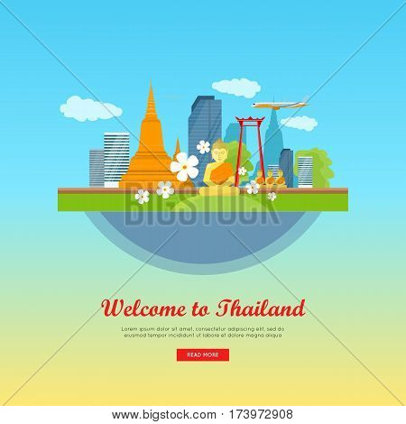 Welcome to Thailand, tourism poster design with attractions. Thailand landmark. Thailand travel poster design in flat. Travel composition with famous landmarks. Website template