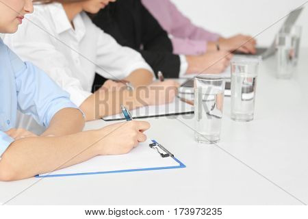 Job interview concept. Human resources commission at work