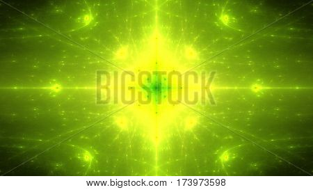Bright yellow flash. Explosion of supernova. 3D surreal illustration. Sacred geometry. Mysterious psychedelic relaxation pattern. Fractal abstract texture. Digital artwork graphic astrology magic